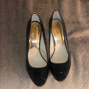 Michael Kors patent leather peep toed heels
